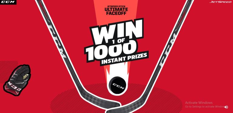 CCM Hockey Jetspeed Stick Ultimate Faceoff Sweepstakes – Win Instant Game