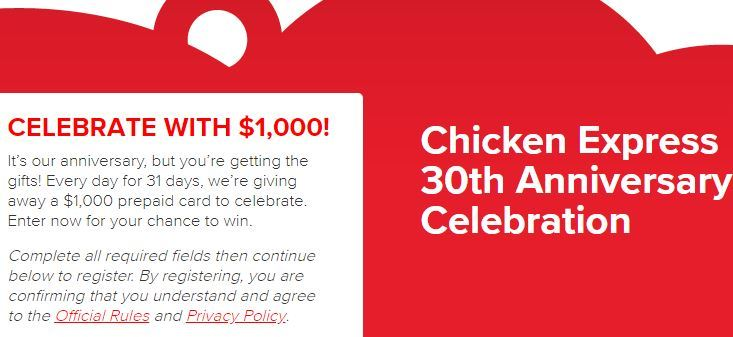 Chicken Express 30th Anniversary Celebration Instant Win Game – Win $1,000 Visa Prepaid Card
