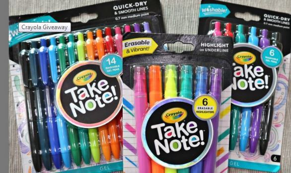 Crayola Take Note Product Bundle Giveaway – Win A Package From Crayola