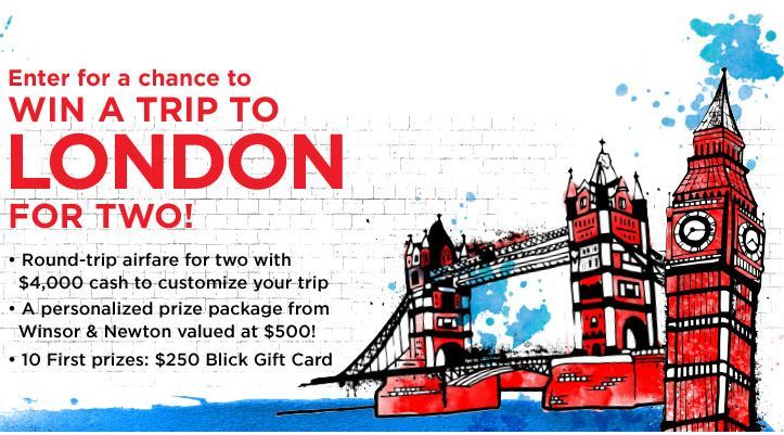 Dick Blick Art Materials Travel Sweepstakes – Win a trip to London
