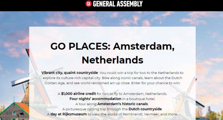 General Assembly Go Places Amsterdam Sweepstakes – Win A $1,000 Airline Credit