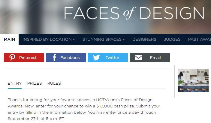 HGTVs Faces of Design Awards Giveaway Sweepstakes – Win $10,000 Cash Prizes