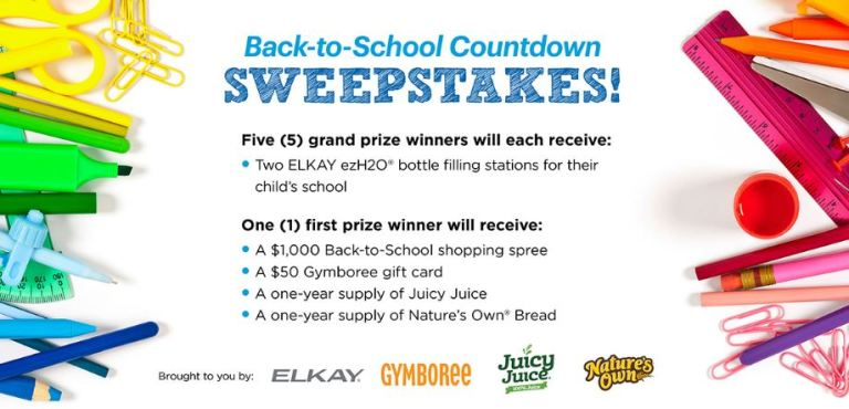 Parents Back-to-School Countdown Sweepstakes – Win ELKAY EzH2O Bottle Filling Stations
