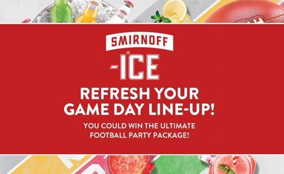 Smirnoff Ice Game Day Sweepstakes 2018 – Win The Ultimate Football Party Package