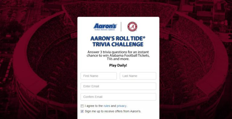 Aarons Roll Tide Trivia Challenge Sweepstakes – Win Alabama Football Games Tickets