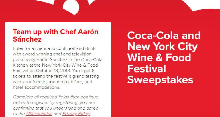 Coca-Cola and New York City Wine & Food Festival (NYCWFF) Sweepstakes – Win Trip