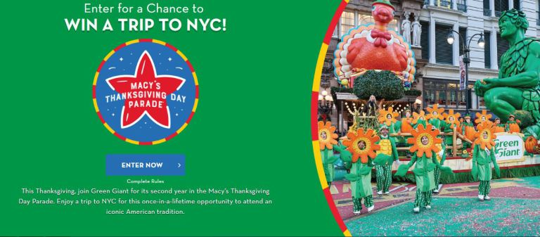Green Giant New York City Thanksgiving Sweepstakes – Win a trip to New York