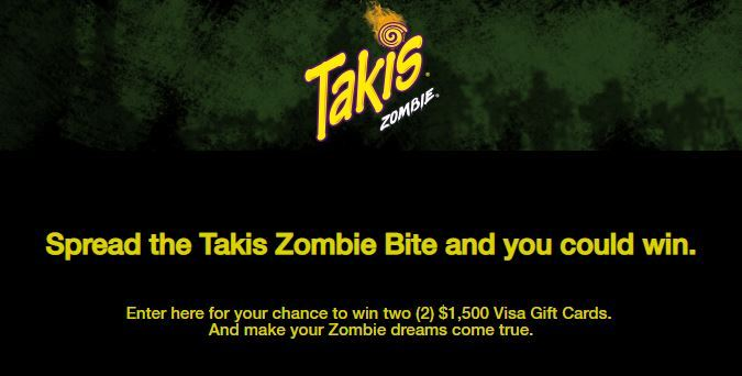 Takis Spread the Bite of Zombie Sweepstakes 2018 – Win Visa Gift Cards