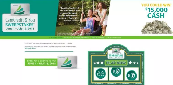 Instant Win Game - CareCredit & You Sweepstakes