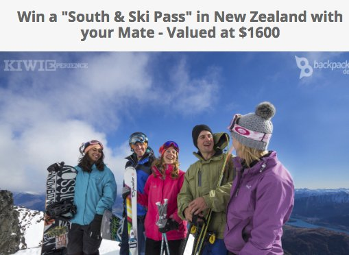 South & Ski Pass In New Zealand Sweepstakes
