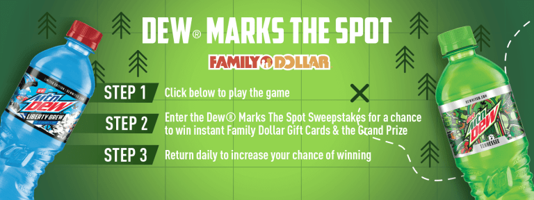 DEW Marks The Spot Instant Win Game Sweepstakes – Win $2,000 in Visa Gift Card