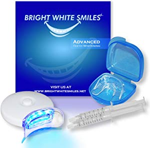 Bright White Smiles Teeth Whitening Kit   LED Light Activated Teeth Whitener   With 2x 5ml 35% Carbamide Peroxide Gel Syringes   Comfort Fit Mouth Tray &amp Sweepstakes