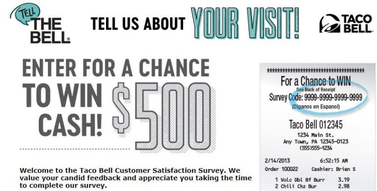 Tellthebell Taco Bell Survey Sweepstakes – Win $500 Cash
