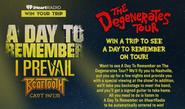 Join A Day To Remember On Tour Sweepstakes