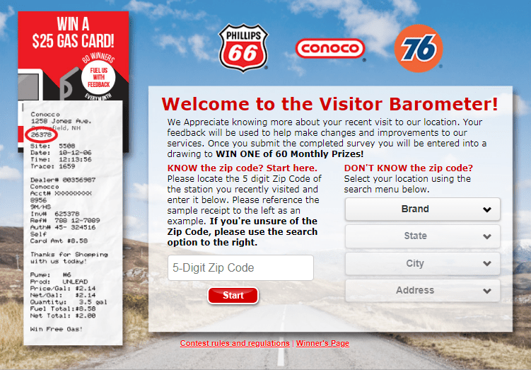 Phillips66 Gas Visit Customer Satisfaction Survey