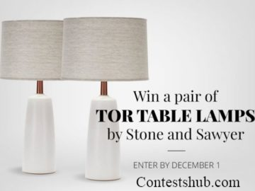 Win a Pair of Tor Table Lamps by Stone and Sawyer Contest