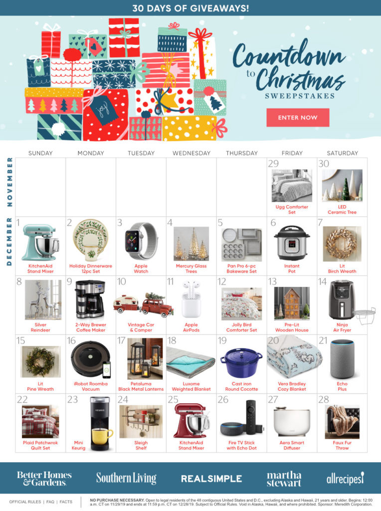 Bhg Countdown To Christmas Sweepstakes Bhg Com Win Daily Prizes