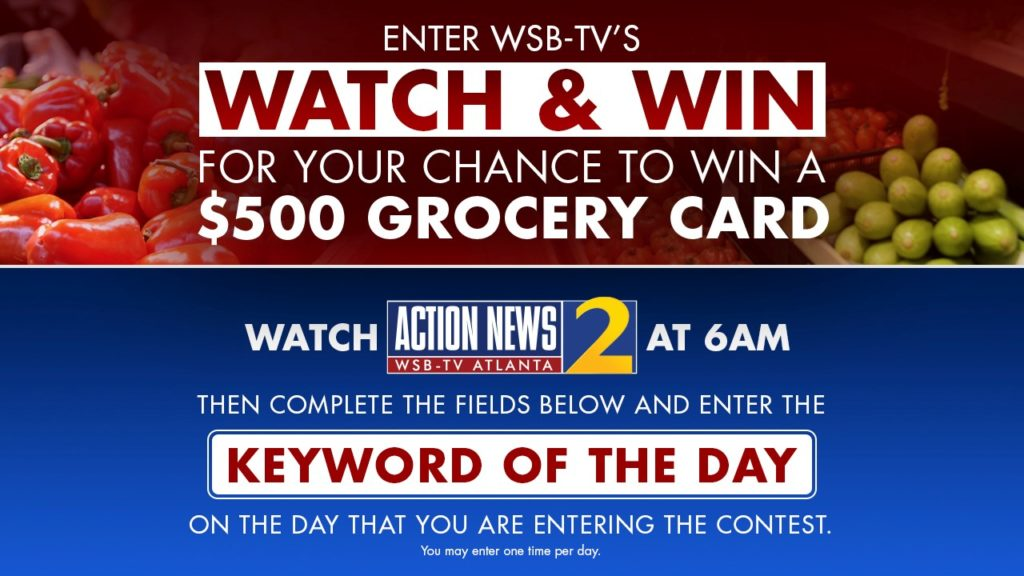 WSBTV $500 Grocery Card Watch and Win Giveaway