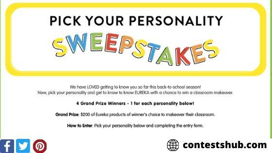 Eureka School Pick Your Personality Sweepstakes