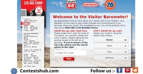 Phillips66 Gas Visit Customer Satisfaction Survey Sweepstakes