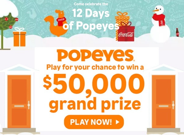 Popeyes 12 Days of Giveaways